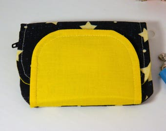 Knitting Notions Pouch, Knitting Notions Case, Knitting Notions Wallet, Knitting Organization - Yellow, Denim, Stars, Wallet, notions keeper