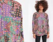 Patchwork Shirt 90s Button Up Blouse Geometric Purple Long Sleeve Top Grunge Boho Vintage Bohemian Medium