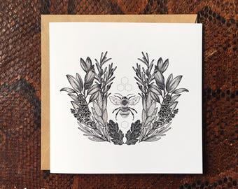 SALE Square Lavender Bee Celebration Card & Envelope