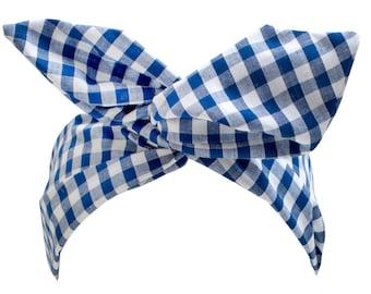 Navy Gingham Wire Headband, Twist Hair Scarf, Bandana, Headband, Dolly Bow, Gingham Headband, Twist Hair Wrap