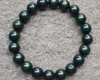 10 MM Genuine Indonesia Green Sea Willow Bracelet 20 Beads Black Coral