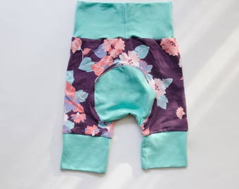 Purple Garden and Mint/Light Blue Baby Big Butt Shorts - Grow with me shorts - Cloth diaper friendly - Toddler - Gift