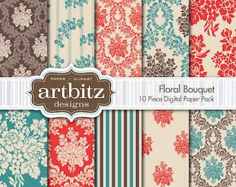 "Floral Bouquet Damask 10 Piece Digital Scrapbooking Paper Pack, 12""x12"", 300 dpi .jpg, Instant Download!"