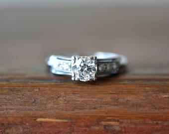 1940s 14K Vintage .75 or 3/4 Carat Total Weight European Cut Diamond Engagement Ring in White Gold
