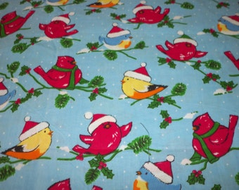 Snowbirds Winter Southern Dwellers Christmas Fabric New BTFQ
