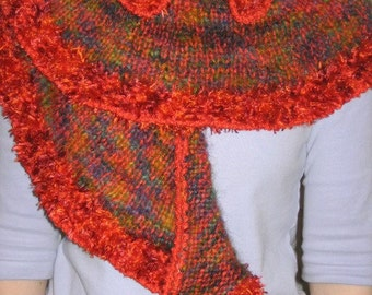 Furry Multicolored Red Crescent Wrap ooak