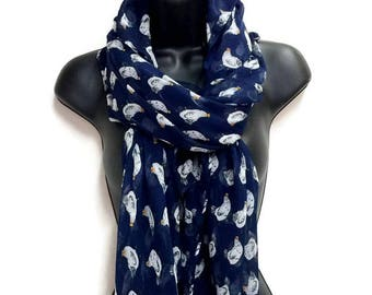 Chickens Pattern Navy Blue Scarf,Spring Summer Scarf,Autumn Scarf,Gifts For Women,Gifts For Her,Printed Scarf,Christmas Gifts