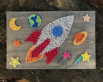 READY TO SHIP- Spacescape String Art- Outer Space String Art- Solar System- Rocketship- Stars- moon- planets