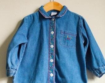 Girls Vintage babyGap Button Down Denim Shirt