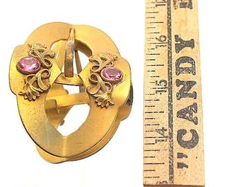Art Nouveau Vintage Buckle Brass Gold Tone Purple Glass Stones Amythest Look Stones Sash Belt