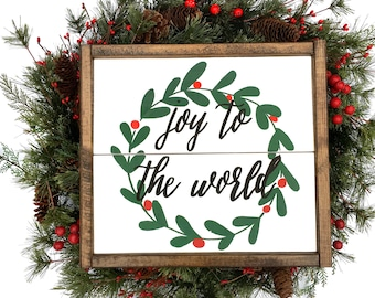 Joy To The World Handcrafted Wooden Christmas Sign // Rustic Christmas Sign // Farmhouse Christmas Sign // Hand Painted Wood Sign