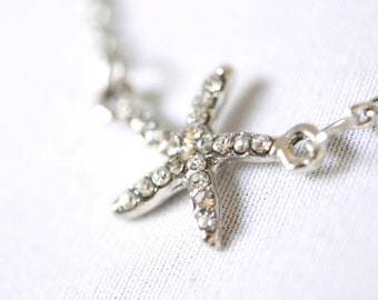 Silver Starfish Necklace, Crystal Star Fish Nautical Beach Cottage Chic, White Crystal Pendant