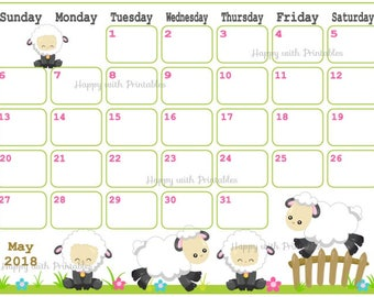 Calendar May 2018 - Spring Planner Printable - Cute sheep Planner - KAWAII theme - May 2018 Planner - 2018 May Calendar