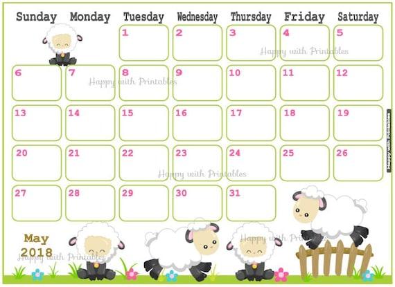 Cute Calendar Planner 2018 : Calendar may spring planner printable cute sheep