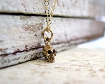 Tiny Skull Necklace, Gold Skull Necklace, Delicate Necklace, Simple Necklace, Layering Necklace