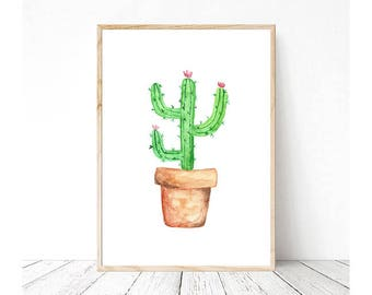 Download Potted Cactus Watercolor Print