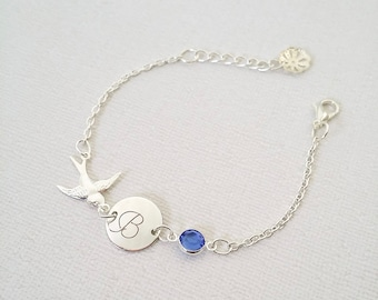 Silver initial Bracelet / Blue Sapphire birthstone bracelet / Personalized name Jewelry / Engraved Initial disc Bracelet / Sparrow Jewelry