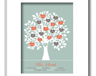 TEACHER TREE, Tree Personalized with Classmates Names, Teacher Appreciation Gift, End of year, Personalized, Customizable, Teacher print