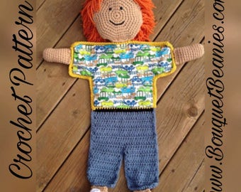 PDF Crochet Pattern- Little Boy Blanket Buddy - Flannel/Crochet - Easy and Fun to make - Beginners to Intermediate
