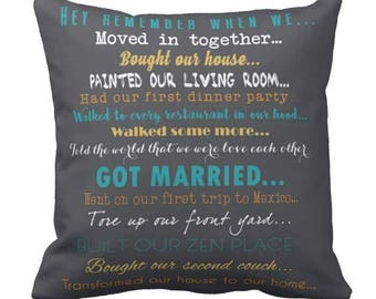 Cotton anniversary Pillow Couples Gift  Wedding photo , vows lyrics, Map Pillow  Personalized Gift 16X16
