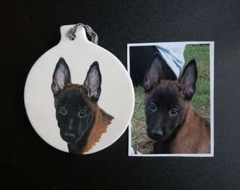 German Shepherd Pet Portrait Ornament Hand Painted and Made to Order by Shannon Ivins
