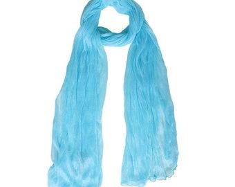 Romantic Blue Crinkle Scarf