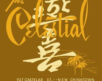 Celestial vintage los angeles restaurant menu art reproduction t-shirt