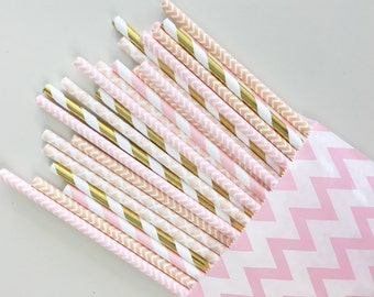 Glistening Peach straw mix//paper straws, straws, party supplies, wedding, decorations, baby shower, bachelorette party,birthday party