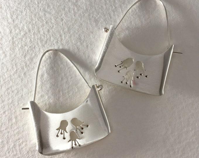 Featured listing image: Flower Bud Bohemian earrings, sterling silver