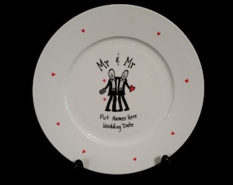 Mr & Mr, mr and mr,wedding signature plate,wedding signing plate,gay wedding gift, gay gift, gay couple,gay pride, guest book plate, gay men