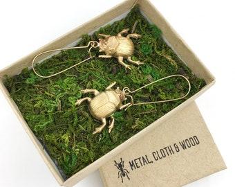 Scarab Earrings, Insect Earrings, Bug Earrings, Insect Jewelry, Scarab Jewelry, Scarab Beetle, Scarab Beetle Earrings, Dung Beetle Jewelry