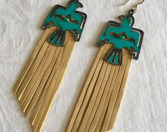 Turquoise thunderbird earrings, tan deerskin leather, steel, lightweight, shoulder duster, fringe, stainless steel hooks, hypoallergenic