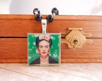Frida - Frida Kahlo black beaded necklace - art necklace - altered art necklace -