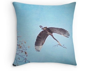 Blue Heron Pillow, Wildlife Decor, Birder Gift, Bird Cushion, Great Blue Herons, Bird Watching Gift, Heron Cushion, Nature Throw Pillow