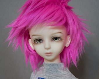 Electric Hot Pink doll wig SIZE CHOICE faux fur wig BJD