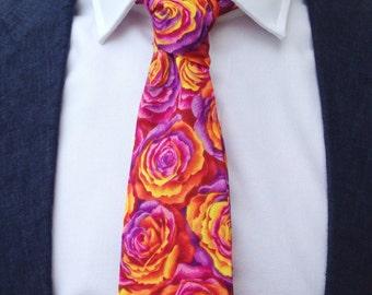 The Kew Tie in Rose Print/ Wedding Tie / Groomsman Tie / Mens Cotton Tie / Rose print / Cerise Tie