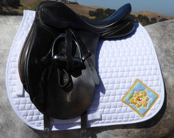 Be Beautiful! White Dressage Saddle Pad for English Saddles from The Floral Collection FD-65