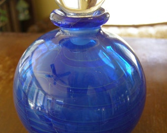 Superb Vintage Blue Glass Perfume Bottle