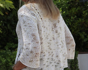 Oversized sweater - Tank Top - V-neck - Cotton - Hand-knit -