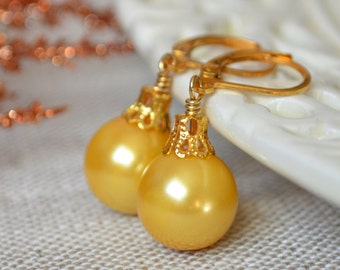 Bright Yellow Glass Pearl Earrings, Christmas Balls, Gold Plated Lever Earwires, Fun Holiday Jewelry