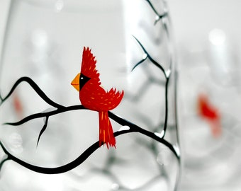 Christmas Cardinals Stemless Wine Glasses - Set of 4 Hand Painted Wine Glasses, Christmas Decor, Christmas Glassware, Holiday Glasses