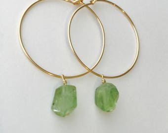 Tiny Peridot Earrings  Raw Peridot Earrings Peridot Earrings  August Birthstone August Birthday Hoop Earrings