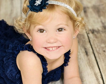Silver & Navy Blue Snowflake Glitter Winter Baby Headband - Chiffon Flower- Newborn Baby Infant- Christmas