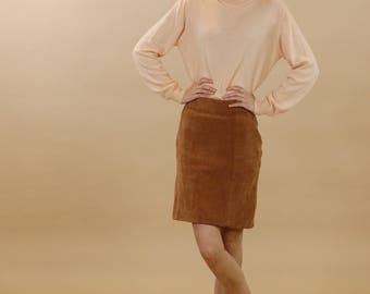 Vintage suede camel skirt / Brown suede pencil skirt / Extra small tan leather skirt / 90s minimalist suede mini skirt / Short suede skirt