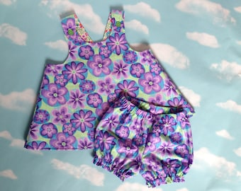 Baby Girl's Pinafore Top and Bloomers Set, 18 - 24 mos, Purple, Green and Blue Floral, Reversible Pinafore, Summer Outfitt