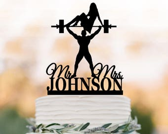 custom Wedding cake topper Weight lifting crossfitters silhouette with personalized name with mr and mrs