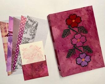Junk journal, photo album, scrapbook, embroidered notebook, Mexican embroidery, floral design, Unique Journal, Guest Book, Art Journal