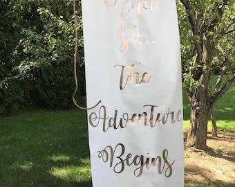 Antiqued Foil Lettering Wedding Flag Banner,And so...the Adventure Begins, Rustic Wedding Banner, Rustic Wedding Banners, Wedding Flag