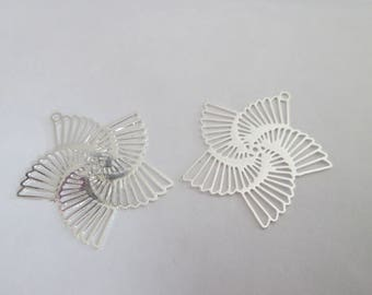 spiral flower silver metal 22 mm 10 prints