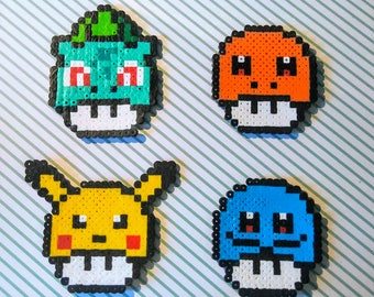 Pokemon Perler Mushrooms Collectible / Key Chain / Magnet /  Pikachu / Bulbasaur / Squirtle / Charizard / Larger Perler Beads